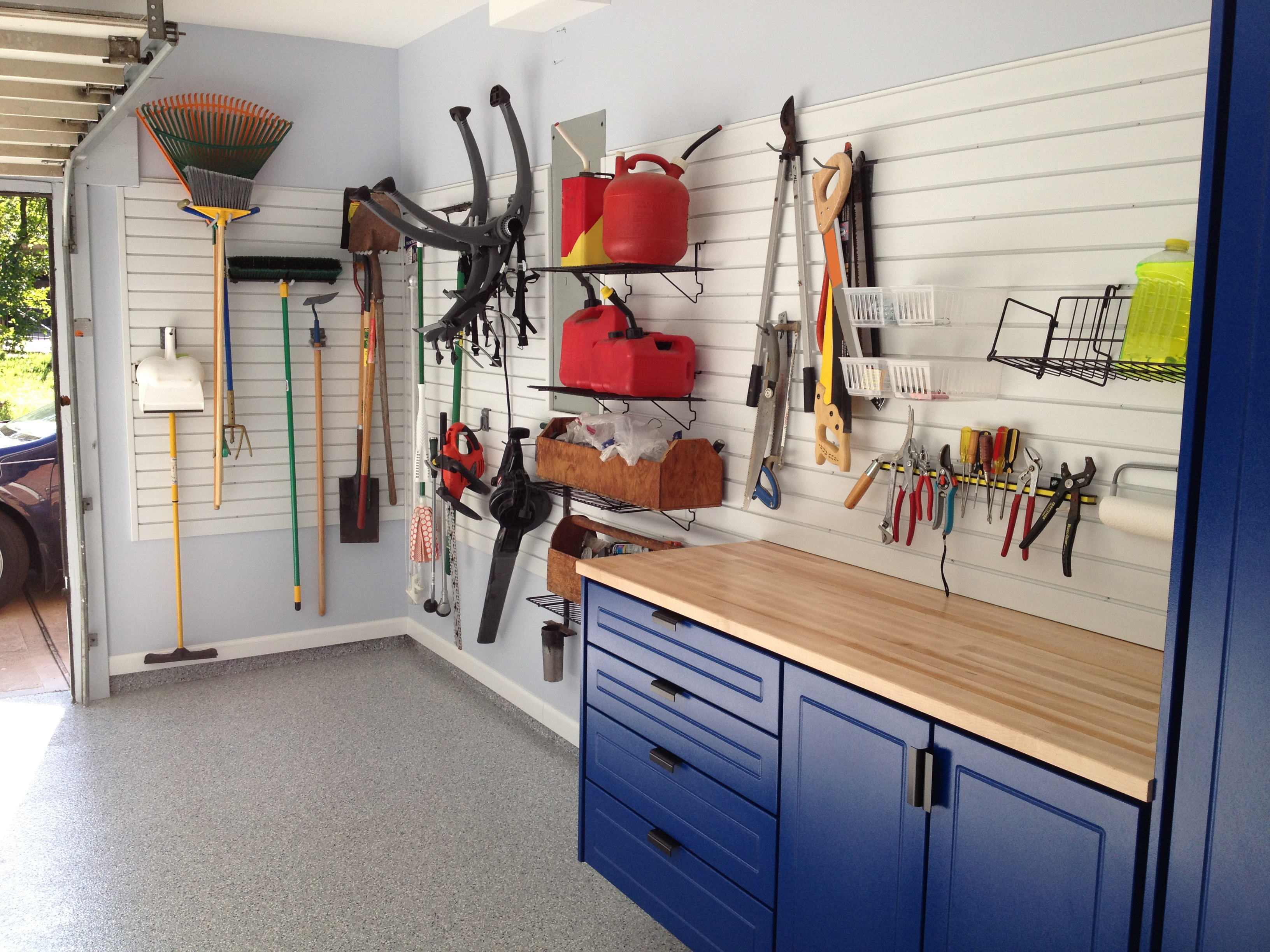 SlatWall Panels & SlatWall Accessory Tool Storage Paired With Powder Coated Blue Garage Cabinets