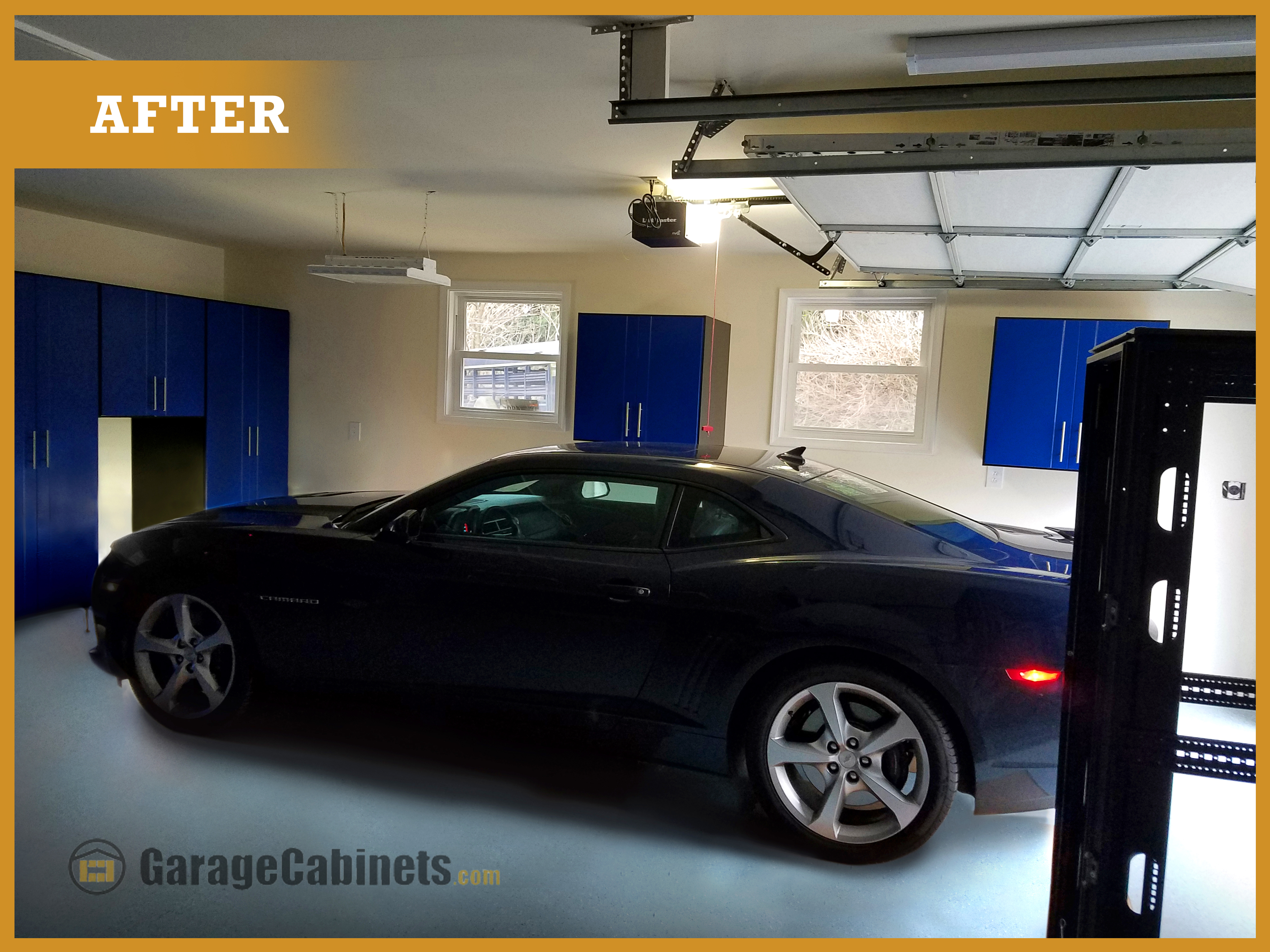 """""""After"""" Garage cabinets, flooring and walls all updated."""